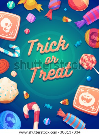 trick or trick set of colorful
