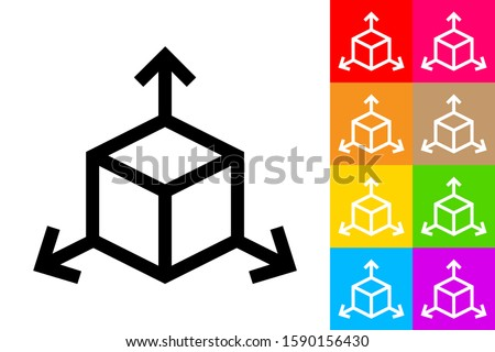 Tridimensional Coordinate Spaces. Line Icon With Different Color Background. Stok fotoğraf ©