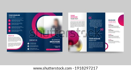 Trifold brochure design. A4 abstract business brochure template. Creative circle design marketing flyer template with image.