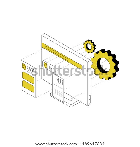 Trigonometric techincal linear cube  art 3d document and computer illustration