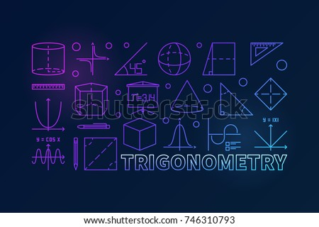 Trigonometry and math colorful illustration or banner in line style on dark background