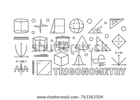 Trigonometry and math minimal illustration or banner in line style on white background