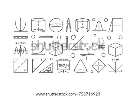 Trigonometry and mathematics outline illustration. Vector education or science linear concept banner