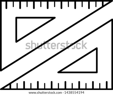 Trigonometry concept: two triangular rulers opposite placement. Icon in outline style
