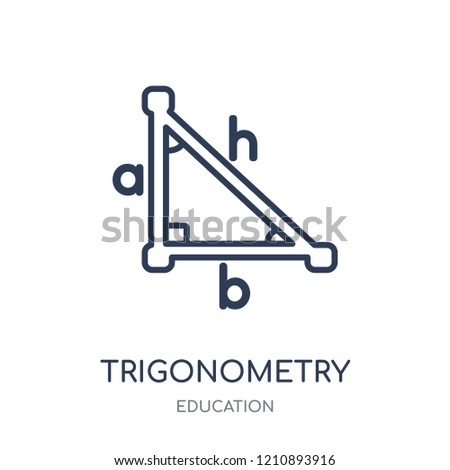 Trigonometry icon. Trigonometry linear symbol design from Education collection.