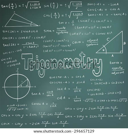 Trigonometry law theory and mathematical formula equation, doodle handwriting icon in blackboard background with handdrawn model, create by vector
