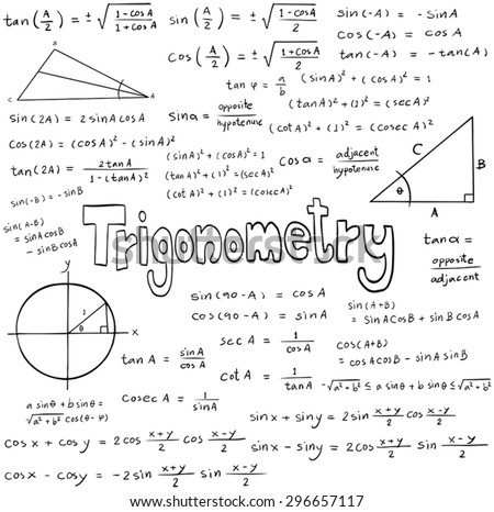 Trigonometry law theory and mathematical formula equation, doodle handwriting icon in white isolated background with hand drawn model, create by vector