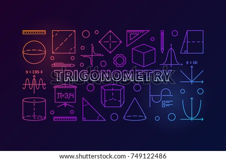 Trigonometry vector colorful banner or illustration in thin line style on dark background