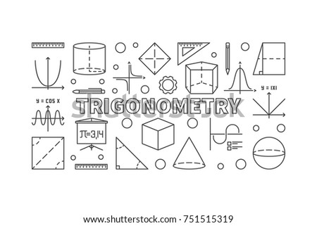 Trigonometry vector minimal banner or illustration in thin line style on white background