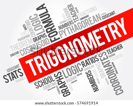 Trigonometry word cloud collage, education concept background