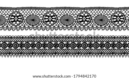 Trim Lace Ribbon for Decorating .Jacquard Mesh Lace Fabric.Vector seamless pattern.  Stock photo ©