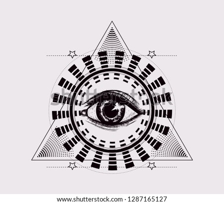 Trinagle with all seeing eye. Hipnotic mandala. Black and white illustration. to be used for print t shirt and tatto art, coloring book pages. Occult artwork.