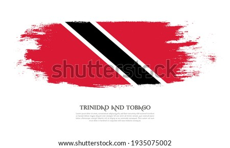 Trinidad and Tobago flag brush concept. Flag of Trinidad and Tobago grunge style banner background Stock photo ©