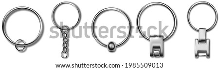 Trinket keyring mockup, metal keychain set. Reallistic set with metal keychain. Breloque illustration. Blank accessory for corporate identity.