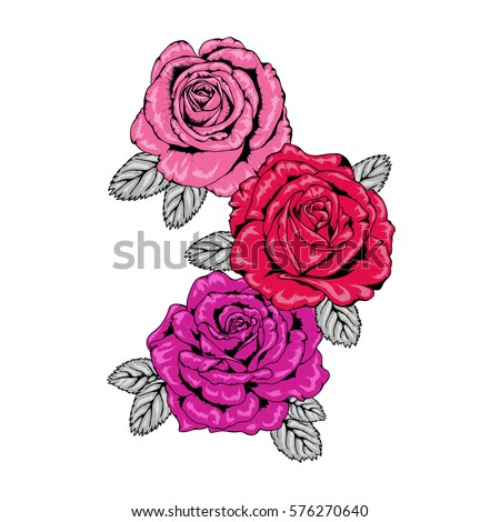 Trio of Tattoo Style Roses Illustration in Pink and Purple