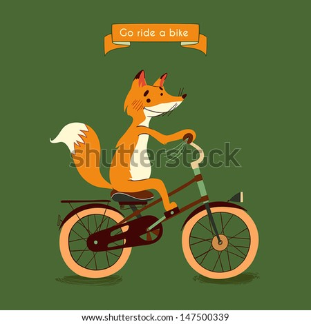 Trip Happy fox rides his a brown bike illustration