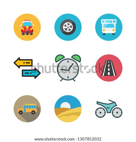 trip icon set. vector set about tire, road, school bus and tuk tuk icons set.