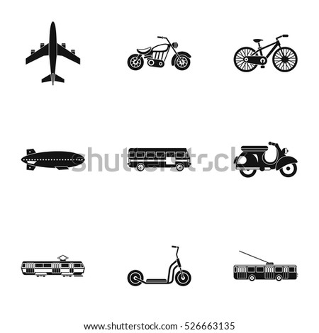 Trip on transport icons set. Simple illustration of 9 trip on transport vector icons for web