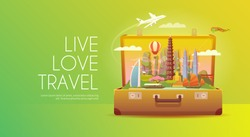 Trip to Asia. Travel to Asia. Vacation to Asia. Time to travel. Road trip. Tourism to Asia. Travel banner. Open suitcase with landmarks. Travelling illustration. Wanderlust. Flat style. EPS 10