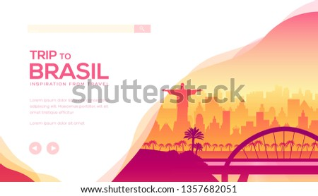 Trip to Brazil vector landing page template. South America tours web banner with text space. Rio de Janeiro skyline minimalistic illustration. World famous tourist attractions website homepage