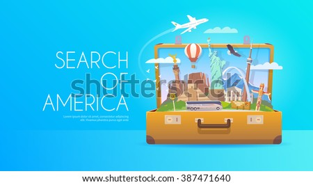 Trip to North America. Travel to North America. Vacation. Road trip. Tourism to North America. Travel banner. Open suitcase with landmarks. Travelling illustration. Wanderlust. Flat style.