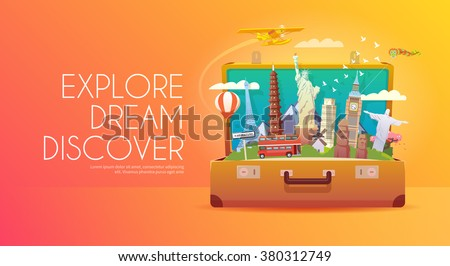 Shutterstock Trip to World. Travel to World. Vacation. Road trip. Tourism. Travel banner. Open suitcase with landmarks. Journey. Travelling illustration. Modern flat design. EPS 10. Colorful.