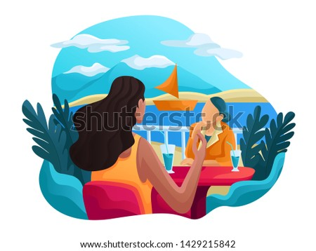 Trip to World. Vacation.  Tourism. Travel banner. Journey. Travelling illustration. Modern flat design. woman have conversation at sea side view or river  Stockfoto ©
