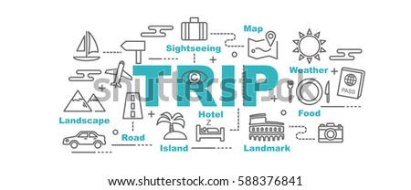 trip vector banner design concept, flat style with thin line art icons on white background