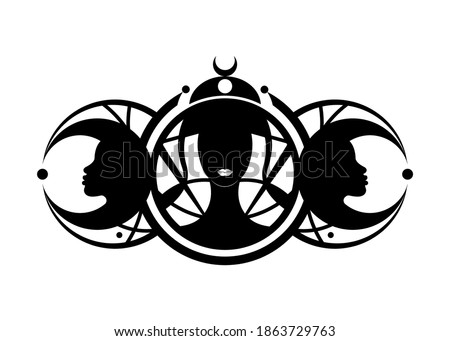 Triple goddess, beautiful women, symbol of moon phases. Hekate, mythology, Wicca, witchcraft. Triple Moon Religious Wiccan sign. Logo Neopaganism symbol. Crescent, half, and full moon vector isolated