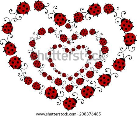 triple heart of ladybirds