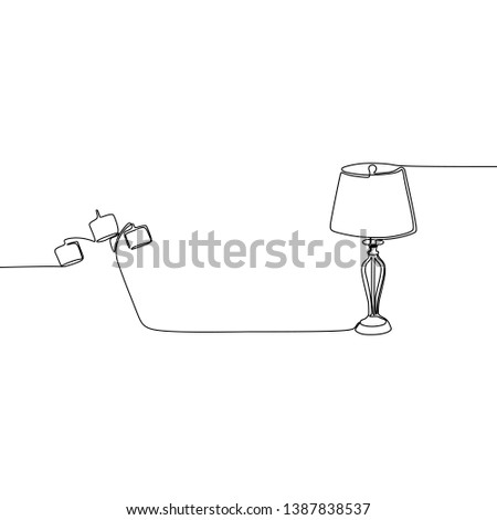 triple lamp and bed lamp one line lamps on a white background Vector