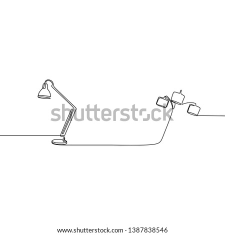 triple lamp and single lamp one line lamps on a white background Vector