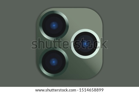 Triple Lens Camera Green colors on Smartphone or other gadgets.