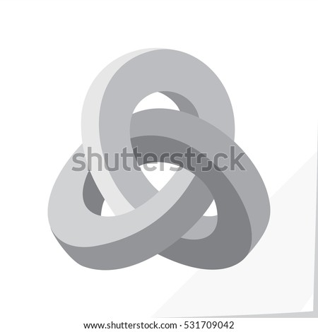 Triple Mobius Loop Impossible Geometric Figure Icon Inspired by Escher - Grey Elements on White Natural Paper Effect Background - Flat Graphic Style