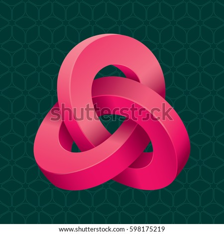 Triple Mobius Loop Impossible Geometric Figure Inspired by Escher In Front of Repeating Cube Pattern Wallpaper - Red Isometric Object on Dark Turquoise Background - Gradient and Flat Graphic Style