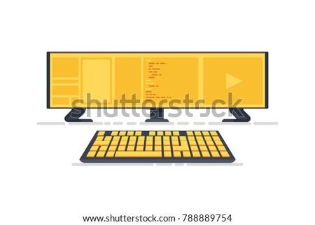 Triple monitor setup with keyboard. Super widescreen. Multiple monitor setup. 3 monitors setup aspect ratio 16:9. Flat illustration isolated on white background