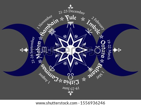 triple moon Wicca pagan goddess, wheel of the Year is an annual cycle of seasonal festivals. Wiccan calendar and holidays. Compass with in the middle pentagram symbol, names in Celtic of the Solstices