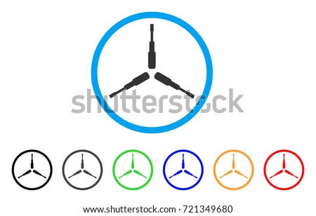 Triple Screwdriver rounded icon. Style is a flat triple screwdriver gray symbol inside light blue circle with black, gray, green, blue, red, orange color versions.