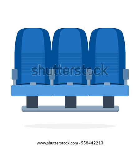 Triple-seat aircraft vector flat material design object. Isolated illustration on white background.