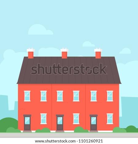 Triplex Detached House. Real estate clipart image