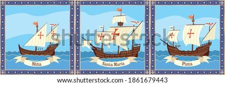 Triptych ships of Columbus. Santa Maria, Pinta and Ninha float on the ocean. Foto stock ©