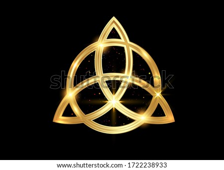 Triquetra geometric logo, Gold Trinity Knot, Wiccan symbol for protection. Vector golden Celtic trinity knot set isolated on black background. Wiccan divination symbol, ancient occult sign