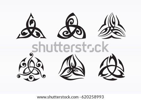 Triquetra symbol. Decorated Trinity knot. Ancient Celtic symbol of eternity. Logo for yoga studio