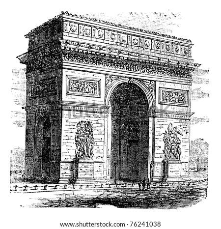 Triumphal Arch or Arc de Triomphe, Paris, France. Vintage engraving. Old engraved illustration of Triumphal Arch. It is one of the most famous monuments in Paris.