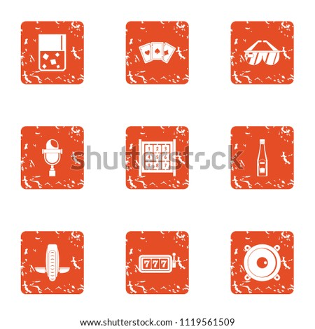 Triumphant icons set. Grunge set of 9 triumphant vector icons for web isolated on white background