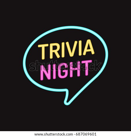 Trivia night. Vector badge, icon with neon effect illustration on black background.