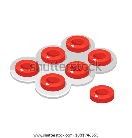Troat lozenges, red tablets are in blister packaging. Cough drop or sweet, troche, cachou, pastille. Healthcare curative remedy, pharmaceuticals. Vector illustration isolated on white background. Zdjęcia stock ©