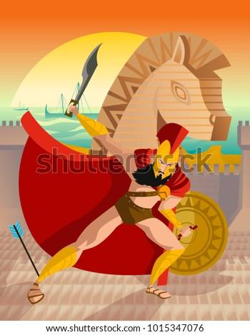 trojan horse wall troy scene