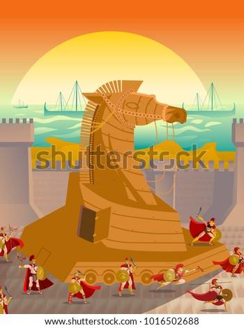 trojan troy horse ambush scene