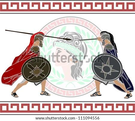 trojan war. stencil. second variant. vector illustration